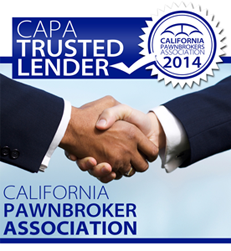 California Pawnbrokers Association CAPA Trusted Lender Logo and two hands shaking
