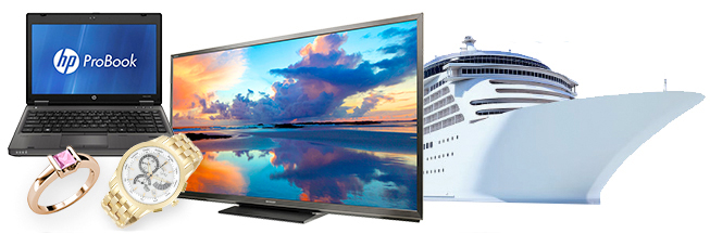 An HP Notebook, ladies stone fashion ring, Flatscreen TV and cruise ship.