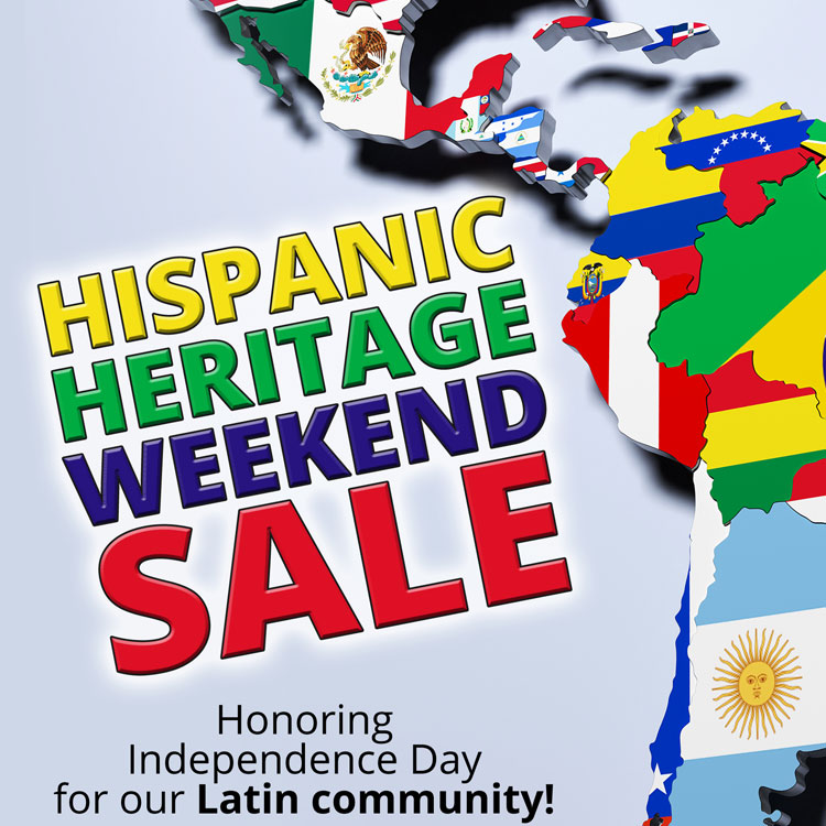 A map of Central and South America with each country's respective flag super-imposed on its geographical space. Hispanic heritage weekend sale. Honoring Independence Day for our Latin Community.