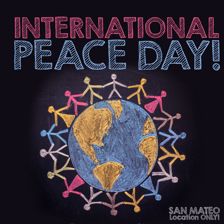 """Men and women join hands around the world. Text reads, """"International peace day. San Mateo Location only. """""""