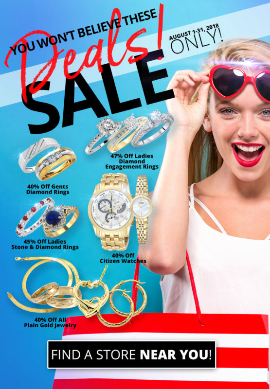 August 2018 Sales Flyer depicting jewelry sales. Click to find a store near you.