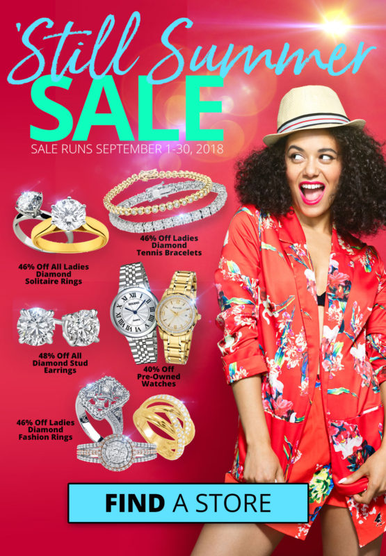 Still summer sale 2018. Happy woman excited to take advantage of sales. Depicts all jewelry sales at Best Collateral.