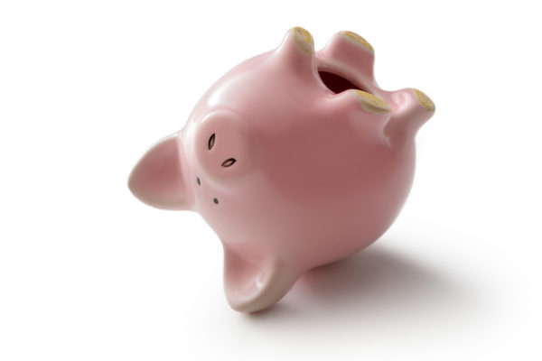 Money: Piggy Bank Upside Down Isolated on White Background, pawn loans