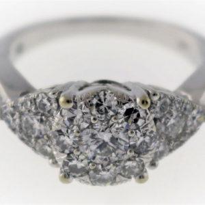 1.29CTW, White Gold, 5.0G White Gold Fashion Ring