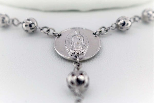 26 inch + 5 inch Rosary, White Gold 24.0G Necklace