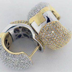 4.00 Carat Weight, 2 Tone Ladies Earrings