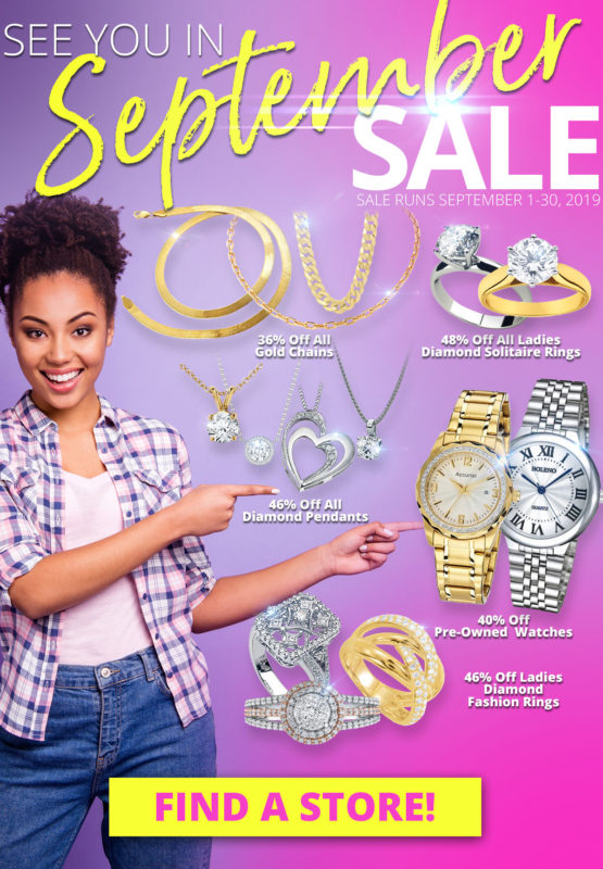 Happy woman pointing at jewelry. Text. Click the image to visit the locations page.