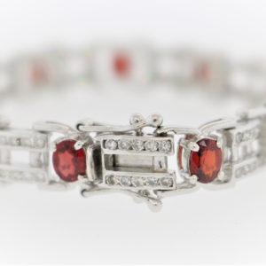 Ladies Stone 18K White Gold Link Bracelet
