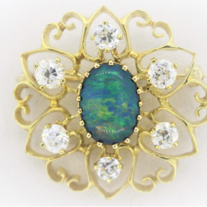 18K Yellow Gold Stone Broach