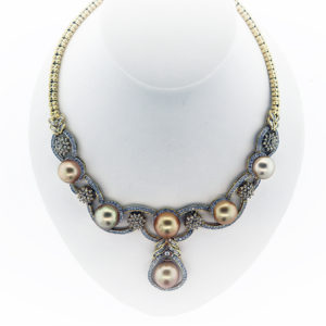 8.20CT Pearl Pendent Necklace in 14K Yellow Gold