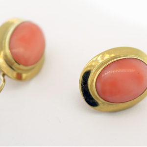 Coral Earrings in 18K Yellow Gold