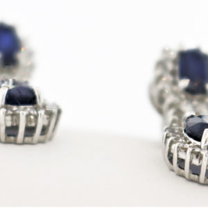 Blue Stone Earrings in White Gold