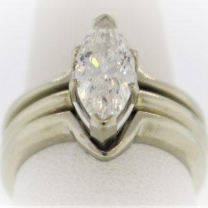 Wedding Set Marquis Diamond Ring in White Gold