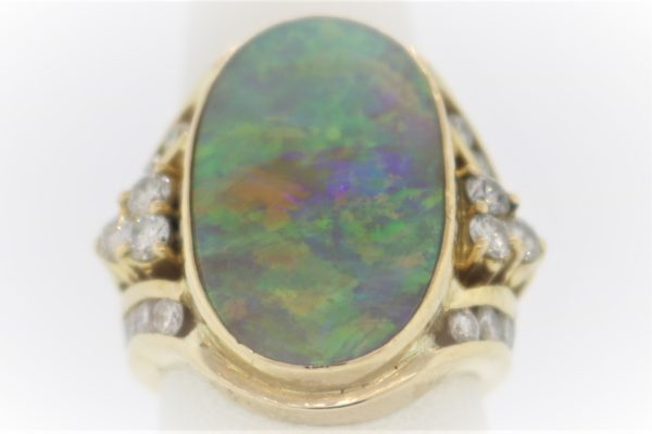 10.6G Gentleman's Opal & Diamond Fashion Ring in 18K Yellow Gold