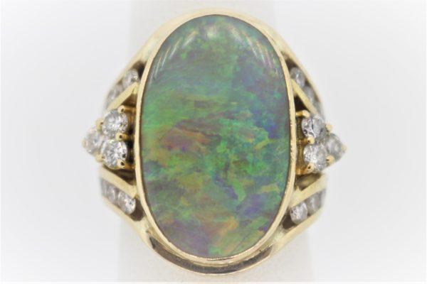 10.6G Gentleman's Opal & Diamond Fashion Ring in 18K Yellow Gold