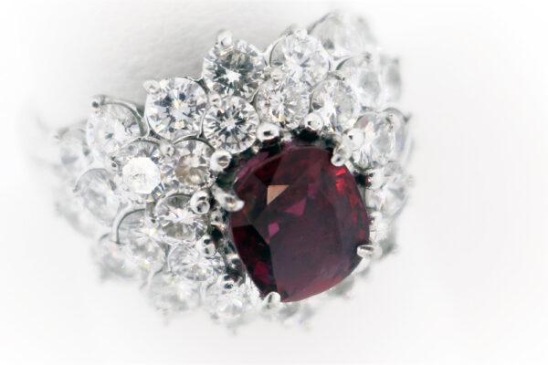 Ladies Ruby and Diamond Estate Collection Platinum Fashion Ring