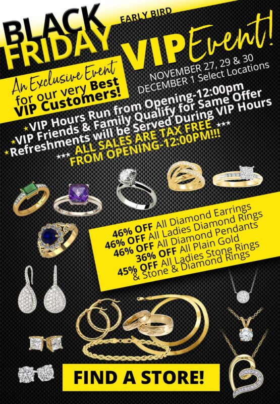 Black Friday VIP Sales Flyer. Jewelry and text.