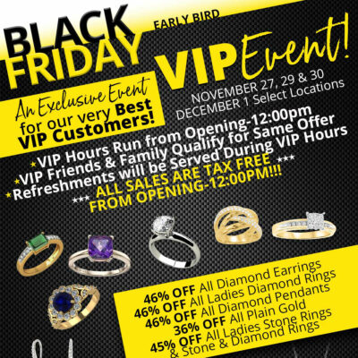 BLACK FRIDAY VIP EVENT Black Friday VIP Sales Flyer. Jewelry and text.
