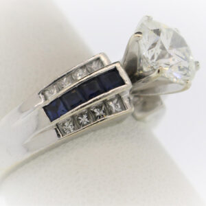 9.1G Ladies Blue Sapphire Ring in White Gold