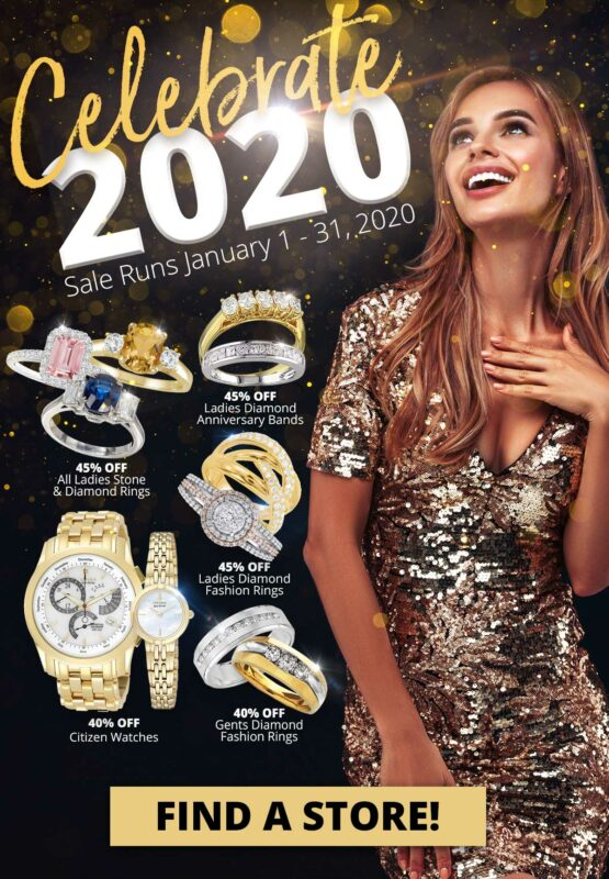 Celebrate 2020 Sale Runs January 1 - 31, 2020 Woman with jewelry and sales