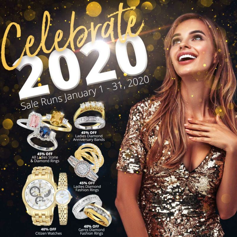 Celebrate 2020 January Sale with rings, watches and a smiling woman