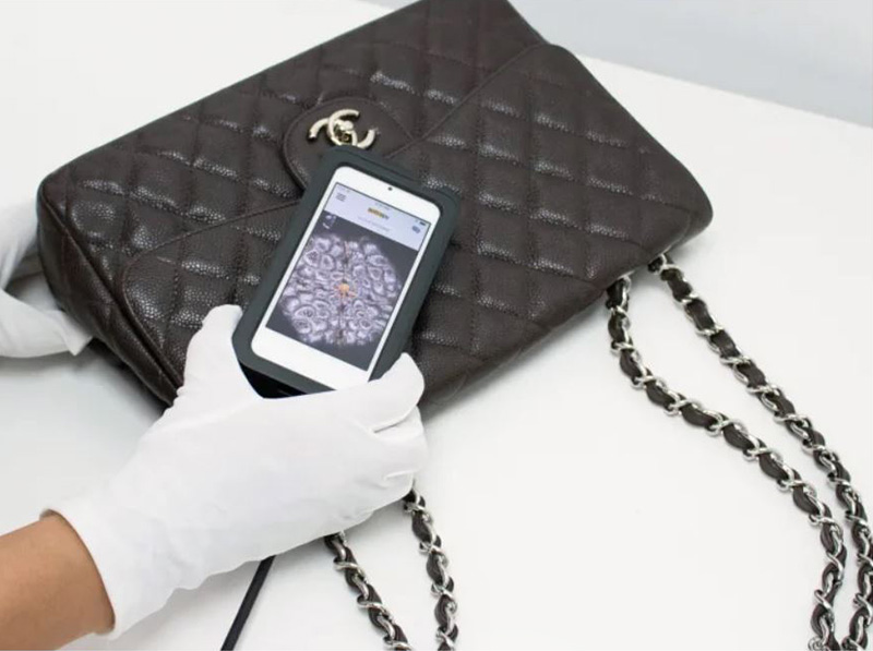 A Chanel Bag being authenticated using the Entrupy app
