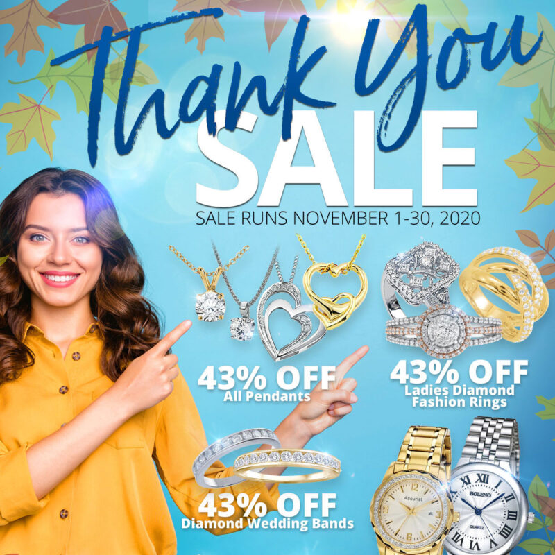 Thank You SALE Sale Runs November 1-30, 2020